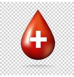 Blood drop with cross icon vector image vector image