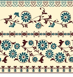 blue brown motiv decorative floral elements vector image vector image