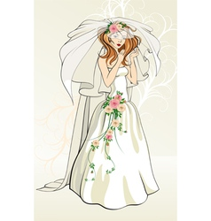 Bride with roses vector image vector image