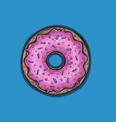 donut with pink glaze donut icon vector image vector image
