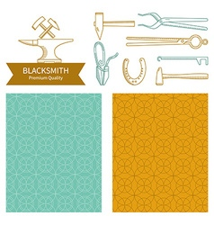 Emblem and icons blacksmith vector