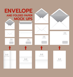 envelope postal mockup set realistic style vector image vector image