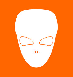 Extraterrestrial alien face or head white icon vector