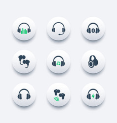 Headphones earbuds icons set vector
