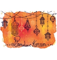 Lantern garland of Ramadan KareemDoodle vector image vector image