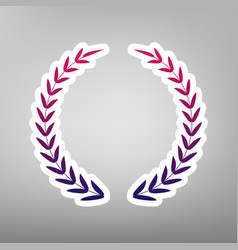 Laurel wreath sign purple gradient icon vector
