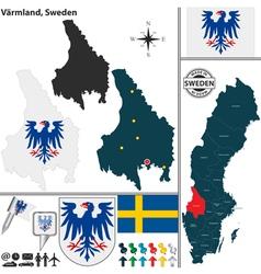 Map of Varmland vector image vector image