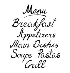 Menu headline handmade brush lettering vector