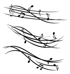 music notes on ornamental staves vector image vector image