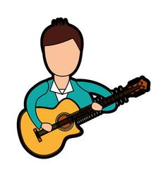 Musician playing guitar avatar vector