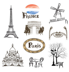paris city icons set travel france landmarks vector image