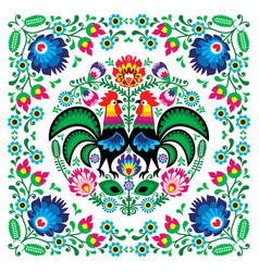 polish floral folk art square pattern vector image vector image