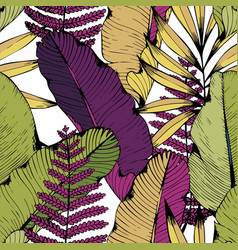 seamless pattern with tropical branches and vector image vector image