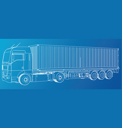 trailer truck abstract drawing tracing vector image