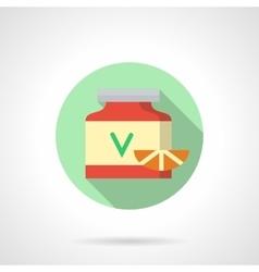 Vitamins red jar flat color design icon vector