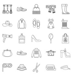 Walking to clothes icons set outline style vector
