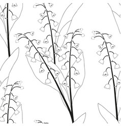 White lily of the valley on white background vector