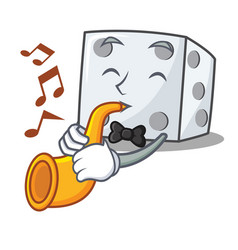With trumpet dice character cartoon style vector