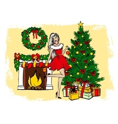 Woman decorating christmas tree vector