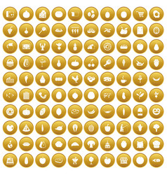 100 natural products icons set gold vector image