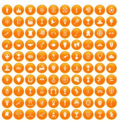 100 trophy and awards icons set orange vector