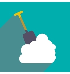 Flat icon with long shadow snowdrift shovel vector