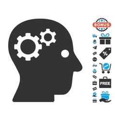 Intellect gears icon with free bonus vector