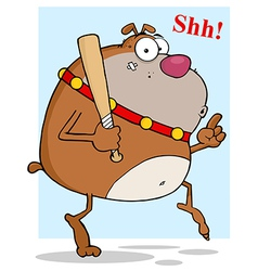 Sneaky brown bulldog tip toeing with baseball bat vector