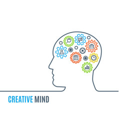 man head with gears creative thinking vector image