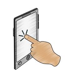 Color pencil image cartoon finger touching a vector