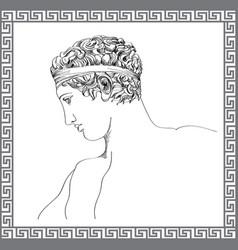 Greek sculpture hand drawn sketch engraving mans vector