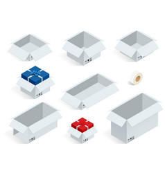 Isometric collection of various cardboard boxes on vector
