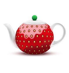Teapot in the form of a large strawberry vector