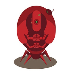 Large red alien robot vector