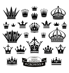 Set of various crowns vector
