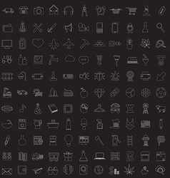 Set of linear media service icons vector