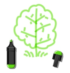 Tree and green marker vector