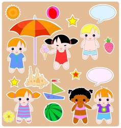 Children summer set vector
