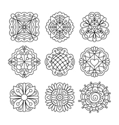 Black ink drawing flowers vector