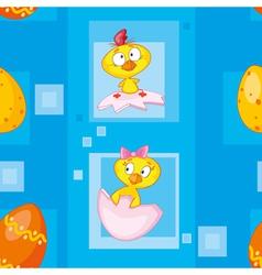 seamless easter eggs blue vector image