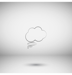 Flat paper cut style icon of thought cloud vector image