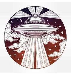 Alien Spaceship UFO in the sky vector image