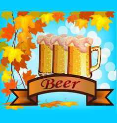beer against the backdrop vector image