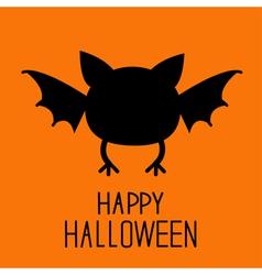 Black bat silhouette Happy Halloween card Flat des vector image