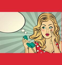 Blonde lady gossip at retro phone vector