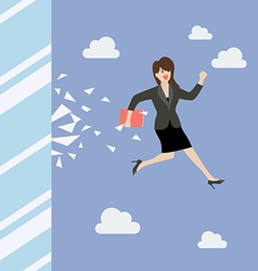 Business woman jump and broke glass window vector