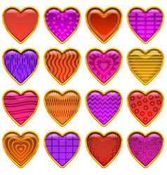 buttons valentine hearts vector image