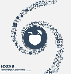 Coconut cocktail icon in the center around the vector