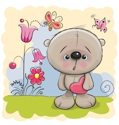 Cute Teddy With heart vector image vector image