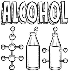 doodle science molecule alcohole bottle vector image vector image